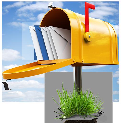 gelber briefkasten mit briefen