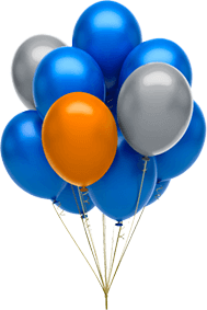 ballons blau orange grau