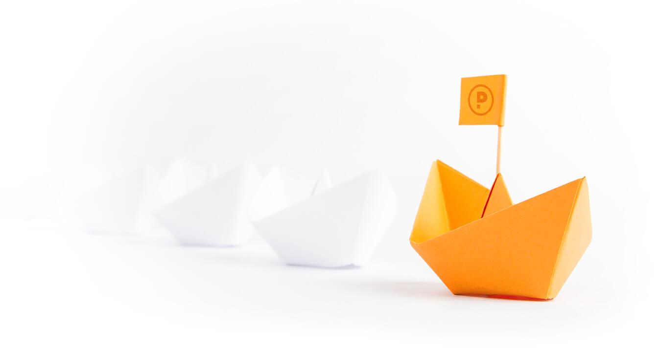 papierschiffchen weiß orange