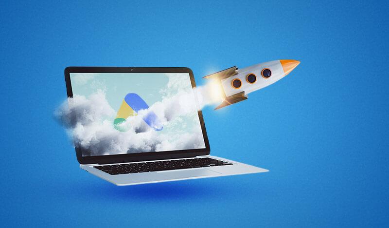 rakete kommt aus laptop